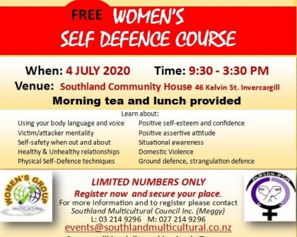 Women's Self Defence Course Flyer